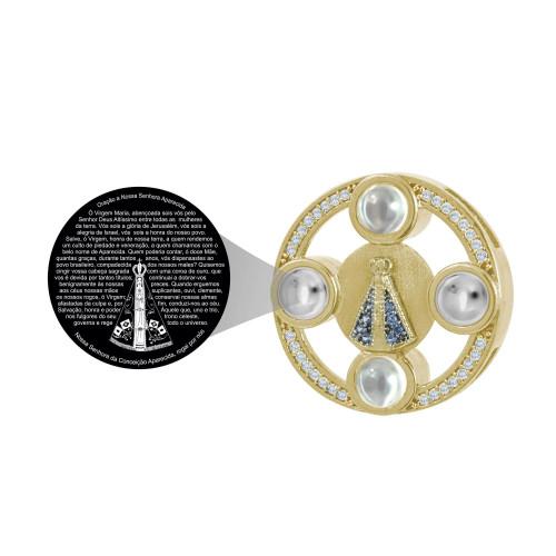 Pingente Prata Revestida de Ouro 18k NeoCrystal N. Sra. Aparecida