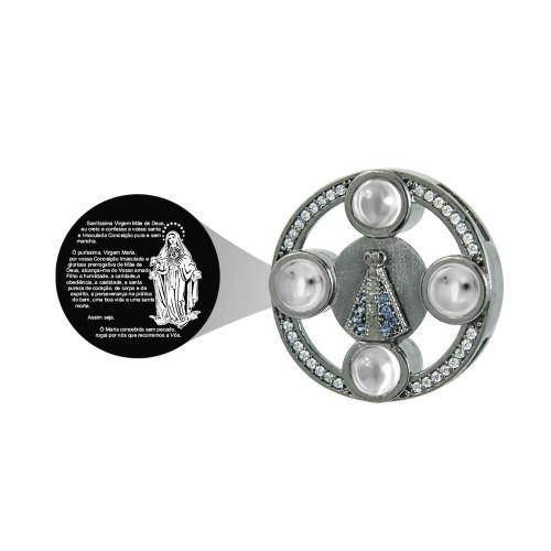 Pingente Prata Revestida Ródio Negro Neo Crystal N. Sra. Aparecida com Zircônias