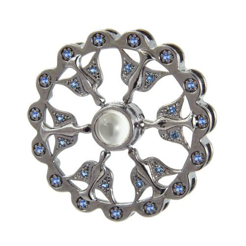 Pingente Prata Rodio Negro Neo Crystal 6 Espirito Santo com Zircônias Azuis 30mm, com Oração