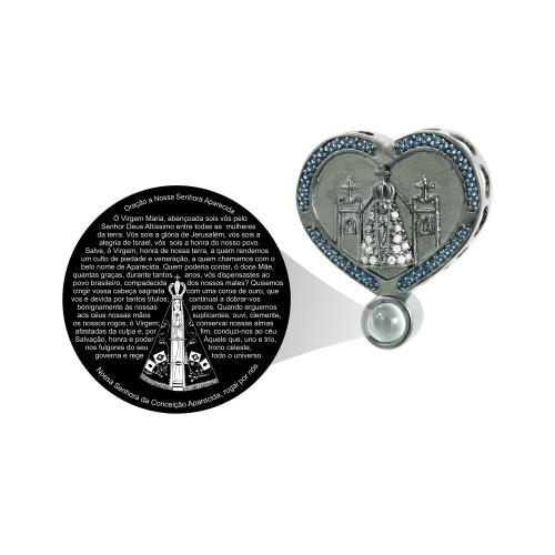 Pingente Prata Neo Crystal Coração com N. S. Aparecida
