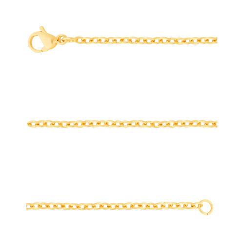Corrente Aço Cartier Elos Ovais 1.85mm 70cm Gold IPG