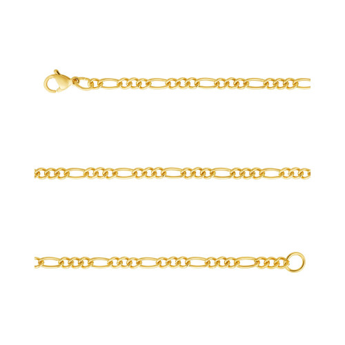 Corrente Aço Groumet 3x1 3.00mm 60cm Gold IPG