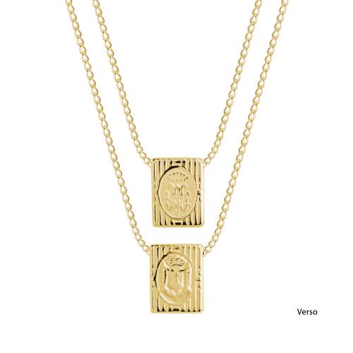 Escapulário Aço SC Jesus NSra Carmo Símbolo Grego Gold IPG