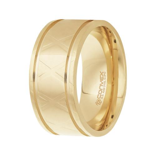 Aliança Aço Xteel 10mm Gold IPG