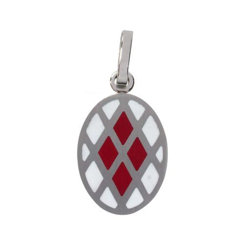 Pingente Aço Oval com Triangulo Branco e Vermelho 25x16mm