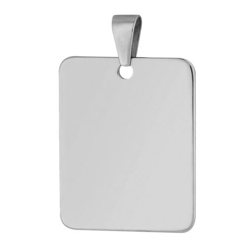 Pingente Aço Placa Lisa 35x28mm