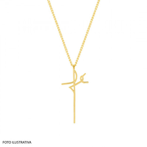 Pingente Aço Simbolo Fé 32x15mm Gold IPG