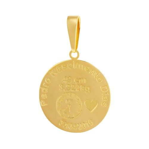 Pingente Aço Mandala Nascimento Coração 27mm Gold IPG