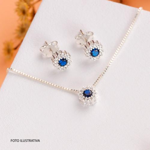 Brinco Prata Ponto de Luz com Zircônia Azul e Branca