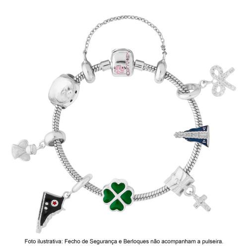 Pulseira Prata para Berloque Link Infantil com Resina Rosa 15cm