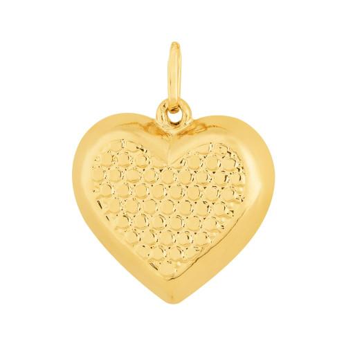 Colar Prata RVT Ouro 18K Veneziana com Coração Diamantado 16x16mm 45cm