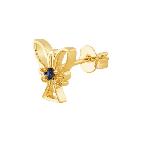 Brinco Prata RVT em Ouro 18K Anjo com Zircônia Azul 10x10mm