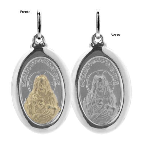Pingente Aço Sagrado Coração de Jesus Oval 23x16mm com Ouro