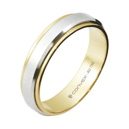 Aliança Ouro 18K Bicolor Giratória com Jateado Fosco L5mm E1.1mm