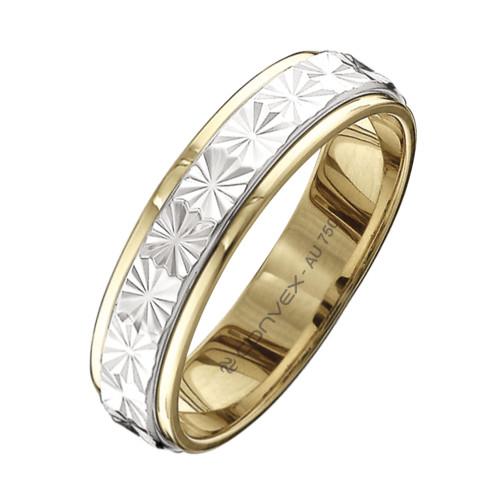 Aliança Ouro 18K Bicolor Giratória com Estrela Diamantada L4.9mm E0.9mm