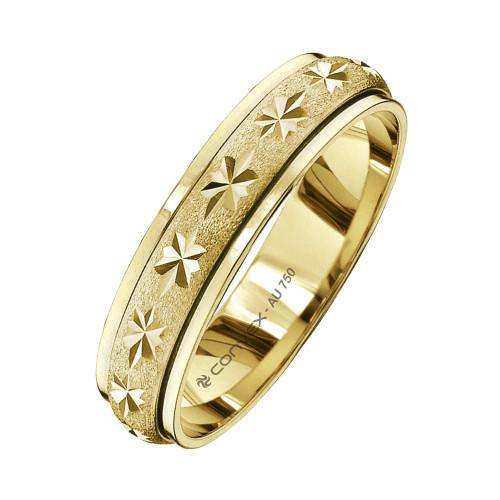 Aliança Ouro 18K Giratória, Jateada com Diamantado Estrela L5mm E1.2mm