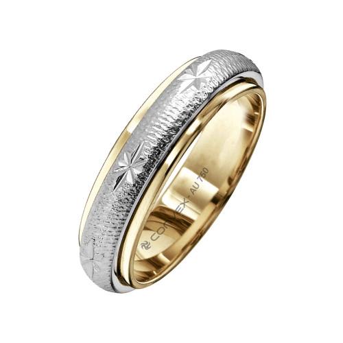 Aliança Ouro 18K Bicolor Giratória com Estrelas Diamantadas L5mm E1.2mm
