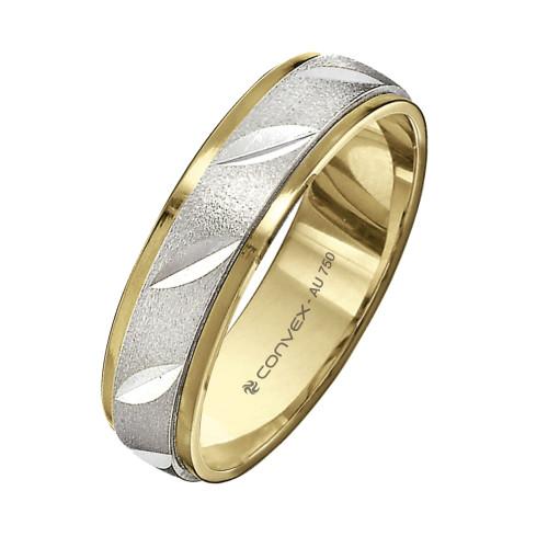 Aliança Ouro 18K Abaulada Bicolor Giratória, Jateada com Diamantados Diagonais L5mm E1mm