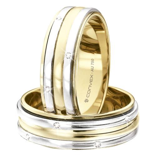 Aliança Ouro 18K Bicolor com 3 Aros Giratórios e 10 Brilhantes L6.4mm E2mm