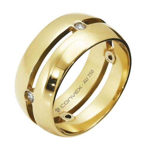 Aliança Ouro 18K Abaulada com Elos Ligando Diamantes L8.3mm E1.4mm