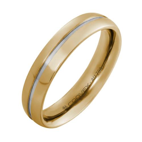 Aliança Ouro 18k Abaulada com Filete Central em Ouro Branco L4.85mm E1.45mm