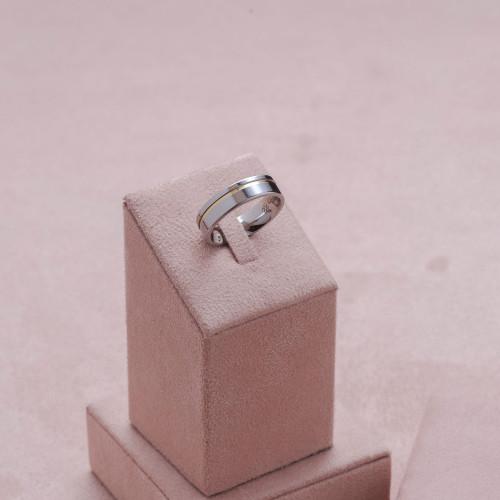 Aliança Aço Plus 6mm Filete Lateral em Ouro