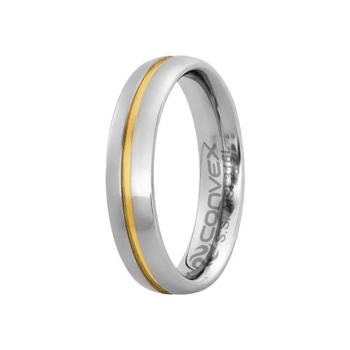 Aliança Aço Plus Max 5mm com Filete Central em Ouro