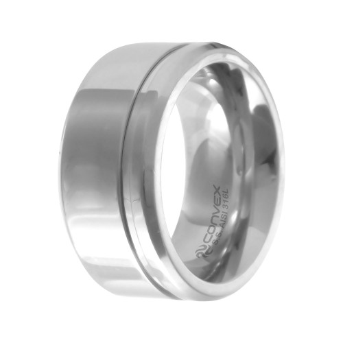 Aliança Aço Chrome 10mm com Filete Lateral