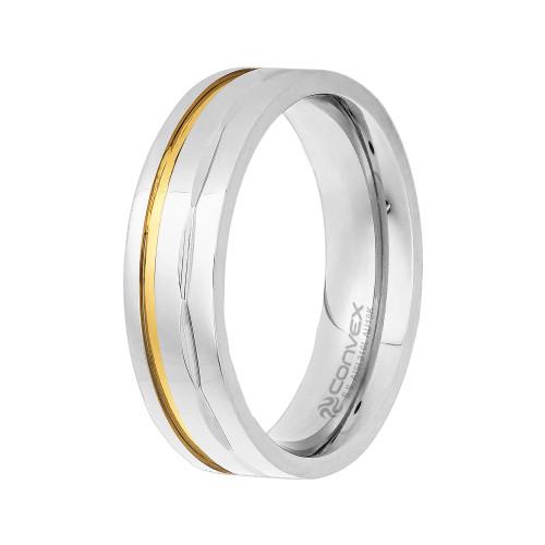 Aliança Aço Dion 6mm com Filete em Ouro