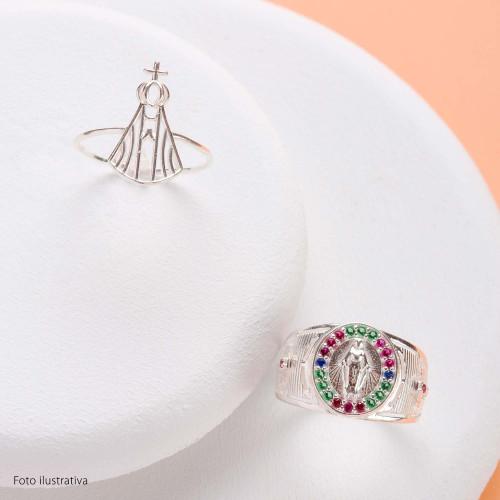 Anel Prata Oval 12mm N. Sra. das Graças com Zircônias