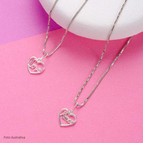 Pingente Prata Link Coração Amor
