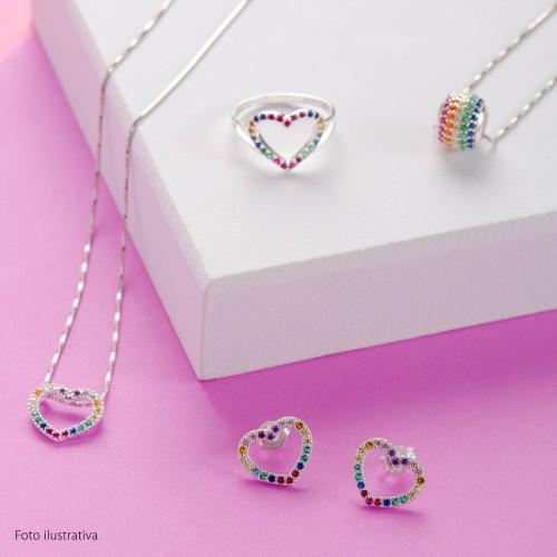 Brinco Prata Link Coração Rainbow