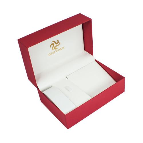 Porta-joias Convex Noblesse para Anel + Brinco + Colar + Pulseira. Cor Vermelha.