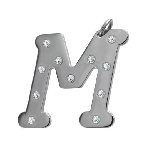 Pingente Aço Letra M com Zircônia