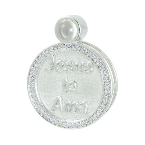 Pingente Prata Neo Crystal Círculo Jesus Te Ama com Zircônias Brancas 28x22mm, com Oração