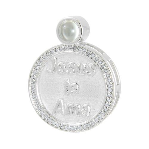 Pingente Prata com Rodio Neo Crystal Círculo Jesus Te Ama com Zircônias Brancas 28x22mm, com Oração