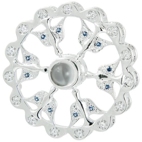 Pingente Prata ROD Neo Crystal 6 Espirito Santo com Zircônia 30mm