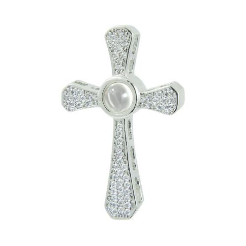 Pingente Prata ROD Neo Crystal Cruz com Zircônias Brancas, 32x20mm, Oração Pai Nosso