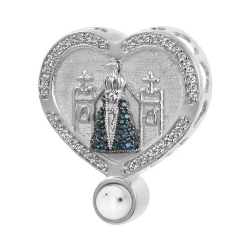Pingente Prata com Rodio Neo Crystal Coração NSra. Aparecida com Zircônias Brancas 28x24mm, com Oração