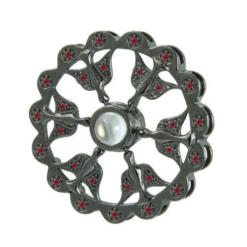 Pingente Prata Rodio Negro Neo Crystal 6 Espirito Santo com Zircônias Vermelhas 30mm com Oração