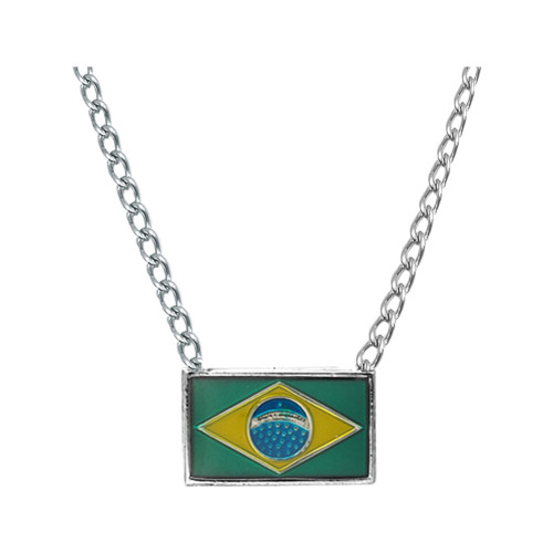 Colar Aço Bandeira do Brasil 20x12mm 50cm