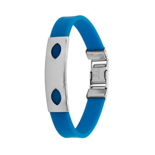 Pulseira Aço Color Teen Azul Chapa com Desenho Oval 10mm 21cm