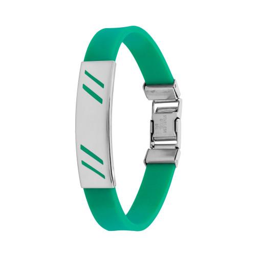 Pulseira Aço Color Teen Verde Chapa com Desenho Diagonal 10mm 21cm