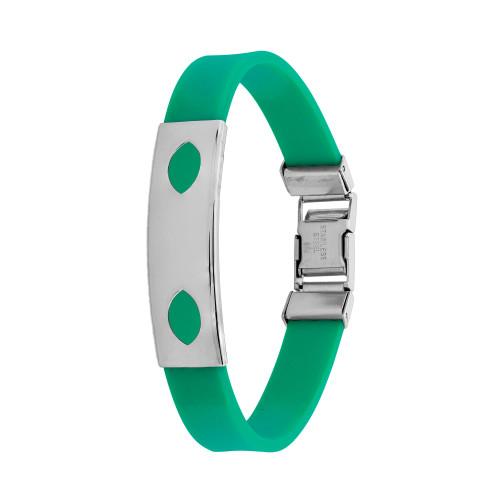 Pulseira Aço Color Teen Verde Chapa Desenho Oval 10mm 21cm