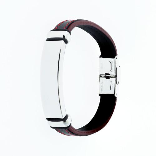 Pulseira Aço Couro Black e Red com Chapa 11mm