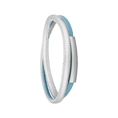 Pulseira Aço Couro Duo Light Blue e Silver 5mm
