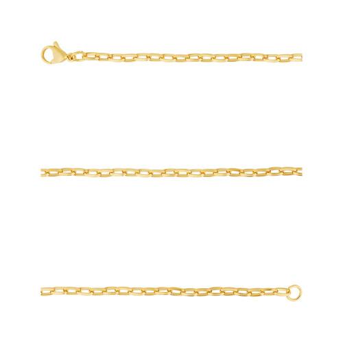 Corrente Aço Cartier Elos Triangulares 3.40mm 60cm Gold IPG