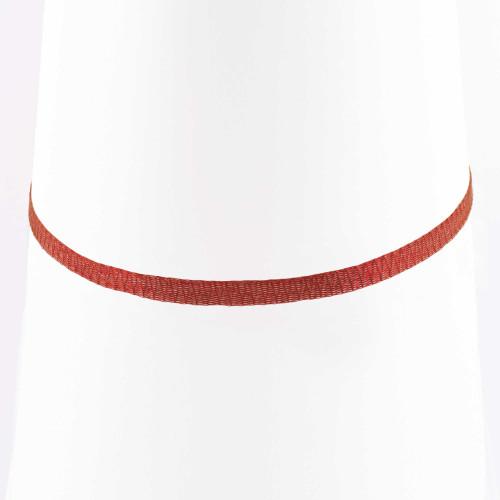 Colar Choker Malha Metalizada Alemã Vermelha 36cm.