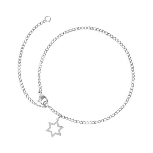 Tornozeleira Aço GLAM Groumet com Estrela de Davi 11x11mm 25cm