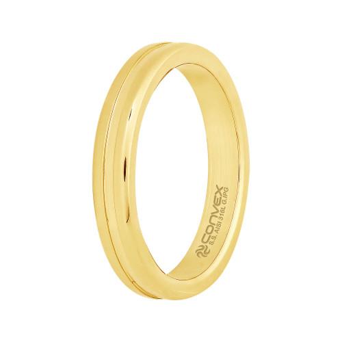 Aliança Aço Aton *Deus do Sol 3.45mm Gold IPG